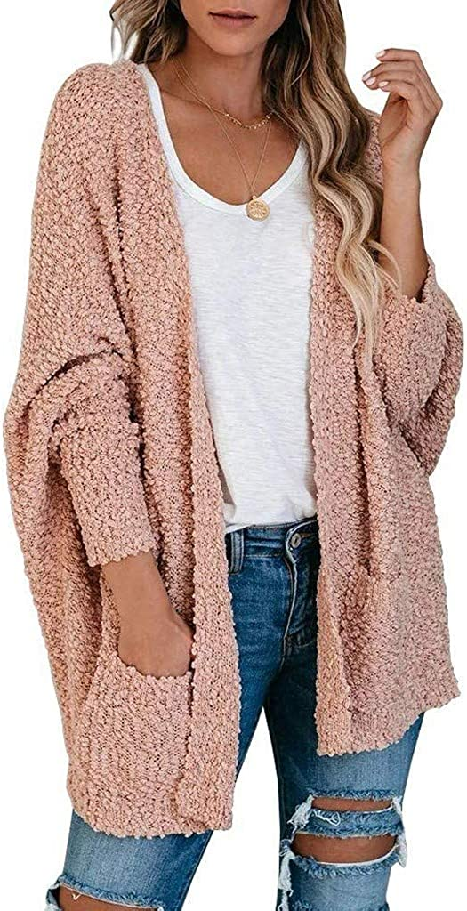 Gibobby Sweaters for Women Cardigan,Womens Long Sleeve Soft Chunky Knit Sweater Open Front Cardigan Outwear Pocket Coat