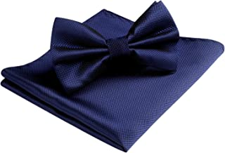 HISDERN Men's Solid Color Pre-tied Bow Tie Adjustable Tuxedo Two Layer Bow Tie and Pocket Square Set with Gift Box