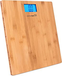 Internet's Best Bamboo Digital Body Weight Bathroom Scale - Bathroom Accessories - Real Bamboo - Eco Friendly - Wood Décor - Blue LCD Backlight - 400 lbs. Weight Capacity
