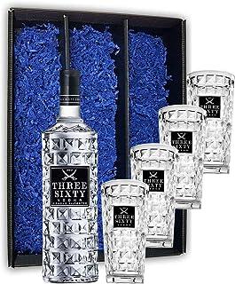 Three Sixty Set Geschenkset Geschenk Box  Three Sixty Vodka Wodka 0,7L 700ml 37,5% Vol  4x GläserLongdrinkgläser Glas 300ml aus rein weißem Brillanz-Glas Bar Cocktail - Enthält Sulfite