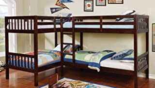 Williams Home Furnishing Marquette L-Shaped Quadruple Twin Bunk Bed in Brown Finish