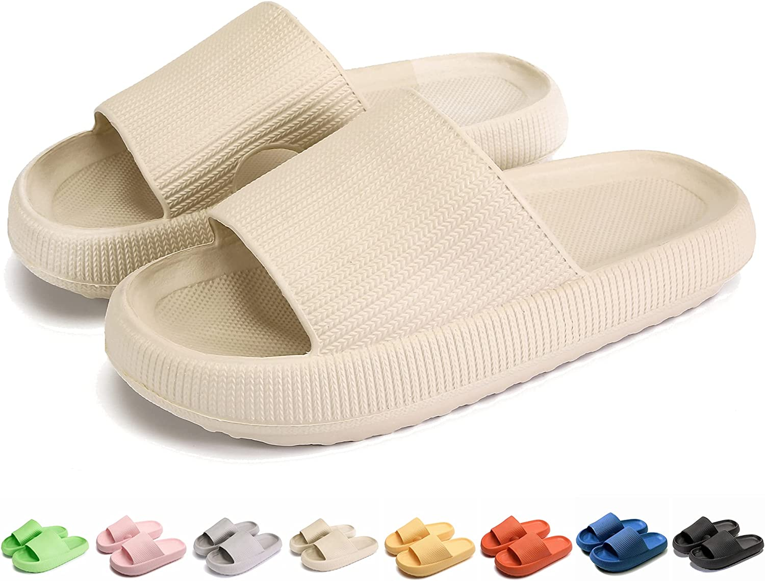 Pillow Slides Slippers, Non-Slip Quick Drying Super Soft Thick Sole Massage Cushioned Open Toe Sandals, EVA Platform Shoes Summer Pool Gym Shower Bathroom Slipper Home Slippers for Women and Men…