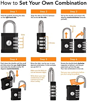 Padlock - 4 Digit Combination Lock for Gym, Sports, School & Employee Locker, Outdoor, Fence, Hasp and Storage - All ...