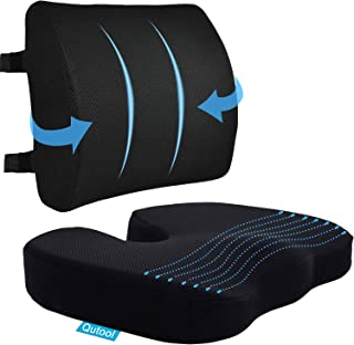 Coccyx Seat Cushion & Lumbar Support Pillow for Office Chair, Car, Wheelchair Memory Foam Chair Cushion with Adjustable Strap for Sciatica, Lower Back & Tailbone Pain Relief Breathable Washable Cover