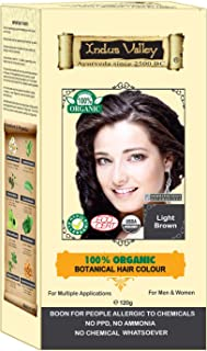 Indus Valley 100% Botanical 100% Organic Light Brown Natural Hair Dye for Sensitive Skin, Pregnant women, Lactating women & For Allergy Sufferers- 120 gm