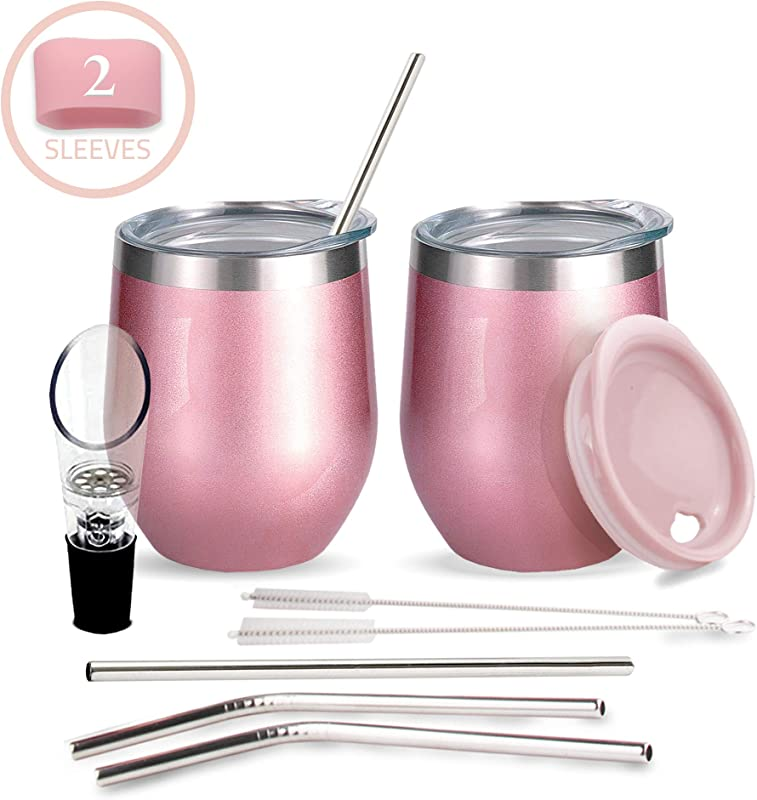 Wine Tumbler Set For Gift 2 Rose Gold Insulated Wine Tumbler Glasses 3 Lids 4 Stainless Steel Straws Brushes Wine Aerator Portable Stemless Wine Tumblers W Lids Amazing Gift Box