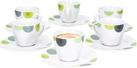Preisvergleich für Van Well | 12-TLG. Espressotassen-Set Rondo | 6 Porzellan-Tassen 80 ml + 6 Unterteller | abstrakte Retro-Kreise grün-gelb | edles Porzellan-Geschirr