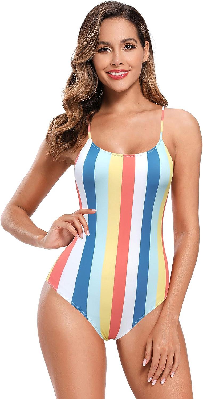 SHEKINI Women's Colorful Stripe One Piece Swimsuit High Cut Backless Bathing Suit