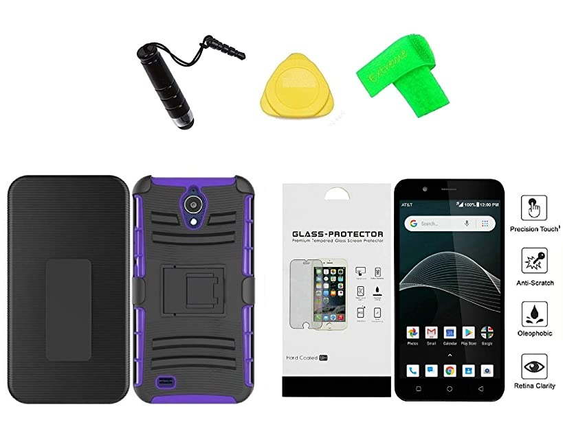 Alcatel Prepaid AT&T AXIA QS5509A / Cricket Vision Belt Clip Holster + Hybrid Cover Phone Case + Tempered Glass + Extreme Band + Stylus Pen + Pry Tool (Purple)