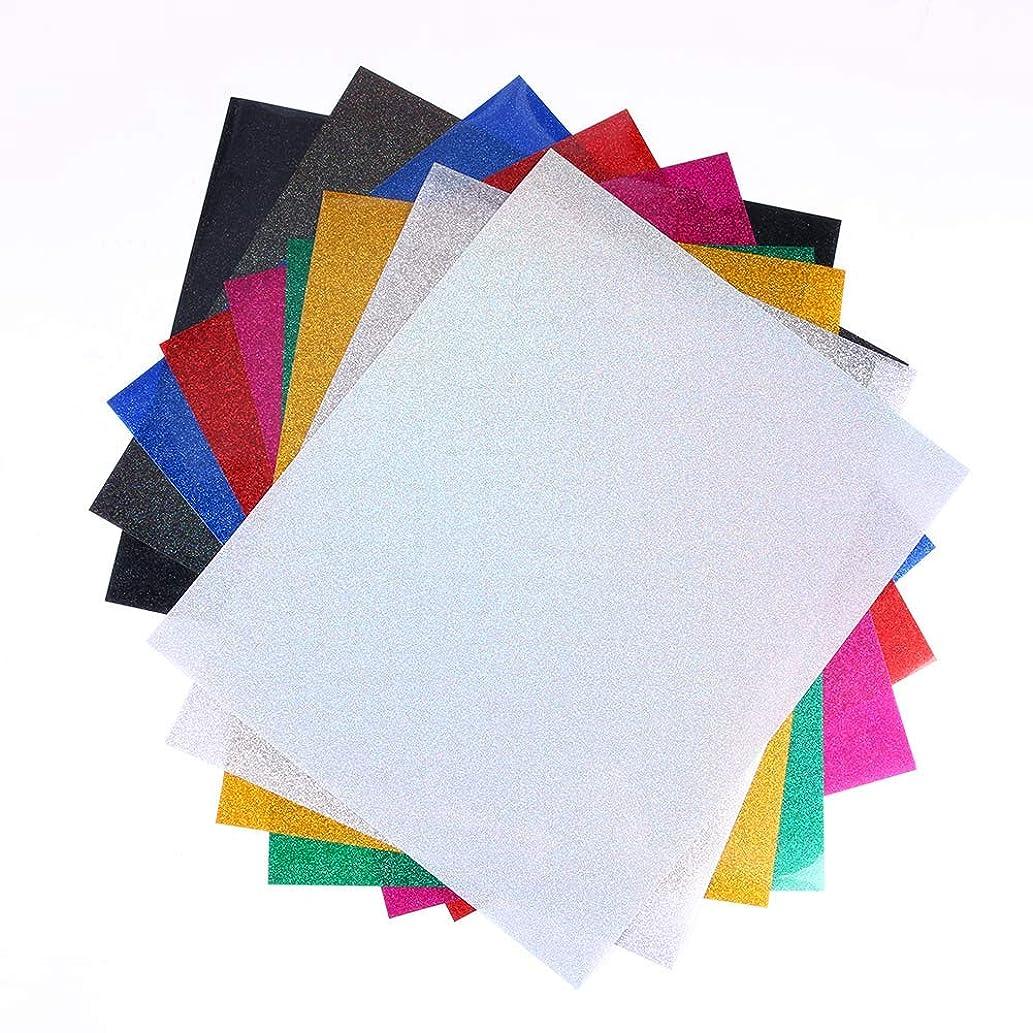 "9PCS Glitter HTV Vinly Bundle Heat Transfer Vinly Glitter Cricut Iron on Vinyl for T-Shirt Silhouette Cameo Cricut Machines Craft Cutters 9 Sheets 10"" x 12"""