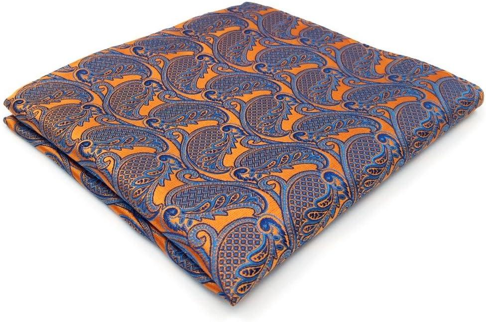 Tomeco Orange Blue Handkerchiefs Hanky Pocket Square Silk Big Size Wedding