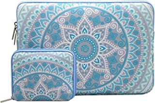 MOSISO Laptop Sleeve Bag Compatible 15 Inch New MacBook Pro with Touch Bar A1990 & A1707 2018 2017 2016 with Small Case, Also Fit 14 Inch Notebook, Canvas Mandala Pattern Bag, Mint Green and Blue
