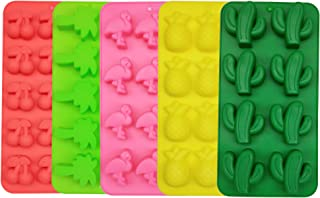 3D Flamingo, Cactus, Coconut Tree, Cherry and Pineapple Silicone Molds for DIY Hawaiian Tropical Rainforest Themed Sugar, Candy, Fondant, Fruit Snack, Chocolate, Ice Cube, Polymer Clay, 5 Different Pa