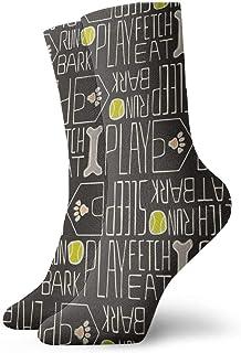 犬の生活ペットブラック、グリーン、ピンクファッショナブルなカラフルなファンキー柄コットンドレスソックス11.8インチ