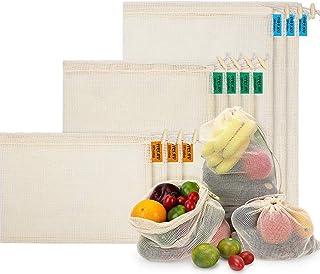 comprar comparacion Bolsas de Malla Reutilizables, Bolsas de Comestibles 10 Piezas Bolsas de Algodón Orgánico para Frutas y Vegetales para Alm...