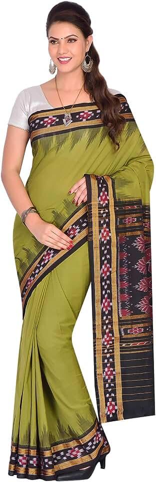 Indian ODISHA HANDLOOM Women's Sambalpuri Cotton & Art Silk Saree With Un-stitched Blouse (OHAUG2019-72_Green) Saree