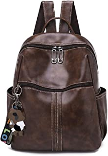Elonglin Women Girls Fashion Casual Daypack Multipurpose Backpacks PU Leather with Bear Pendant Brown 2