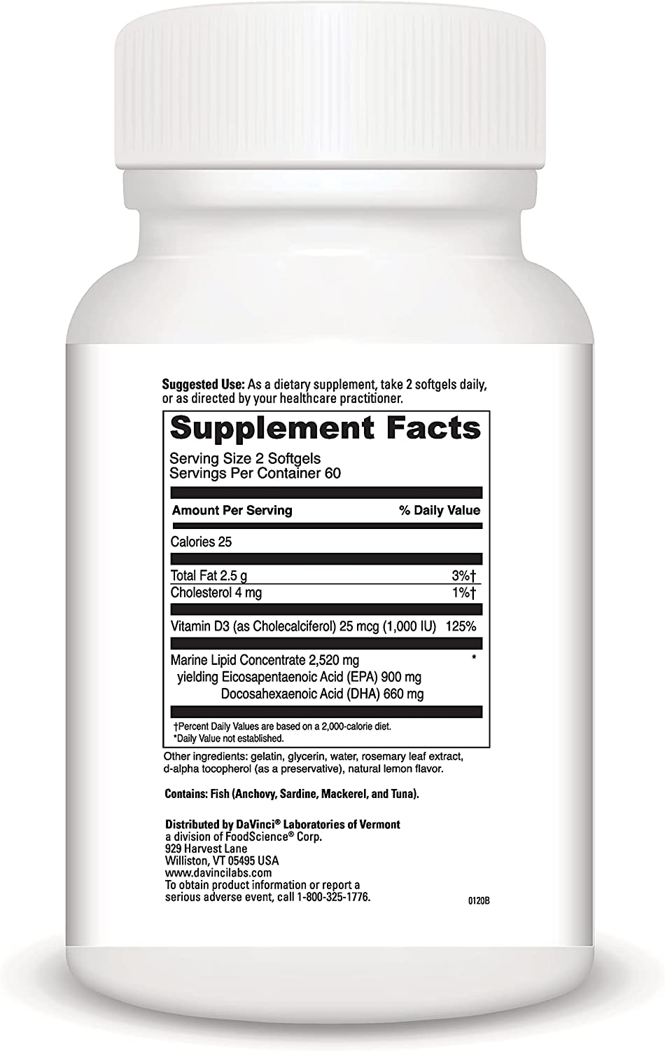 DaVinci Laboratories Omega 3 HP-D Fish Oil Supplement, Natural Lemon Flavor, 120 Count - High Yield Omega 3 with Vitamin D3