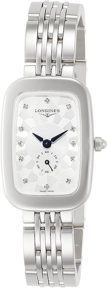 Longines equestrian orologio per donna in acciaio e quadrante in argento e diamanti L6.141.4.77.6
