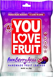 You Love Fruit Organic Fruit Leather, Pomberry/Acai, 1 Ounce (Pack of 12)