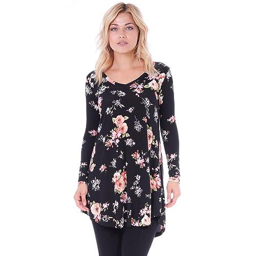 2697b2c12b4 Popana Women s Tunic Tops for Leggings Long Sleeve Shirt Plus Size Made in  USA