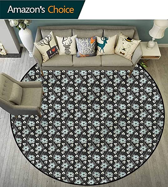 RUGSMAT Floral Area Rugs Traditional Design Blooming Floral Ornament Non Skid Bath Mat Living Room Bedroom Carpet Round 31
