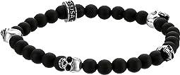 King Baby Studio - 6mm Onyx Bead Bracelet with Four Skulls