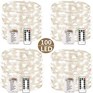 4 Set Fairy Lights Battery Operated String Lights, Upgraded Waterproof 8 Modes 33ft 100 LED Copper Wire Lights with Remote Timer Firefly Twinkle String Lights for Bedroom Christmas Party Decor