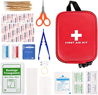 100 Pcs First Aid Kits, Mini First Aid Kits, Compact Emergency Survival Kit, Includes Scissor, Tweezer, Bandage, Adhesive ...
