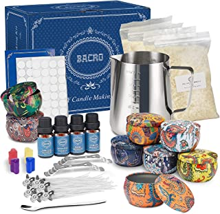 Nature's DIY Candle Making Kit by Bacro - Natural Beeswax with 8 Scented Candles, Easily Create DIY Starter Set with Bees ...