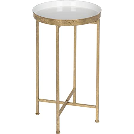 Kate and Laurel Celia Round Metal Foldable Tray Accent Table, White with Gold Base