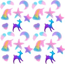 28 Pack Multi Glitter Moon Stars Starfish Love Deer Wings Slime Charms Resin Flatbacks Buttons Polymer Clay Beads for Miniature Fairy Garden Hair Accessories DIY Scrapbooking Phone Case Jewelry Making