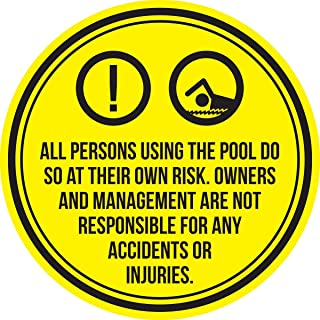 iCandy Products Inc All Persons Using The Pool Do So at Their Own Risk. Spa Warning Round Sign, Metal - 12 Inch