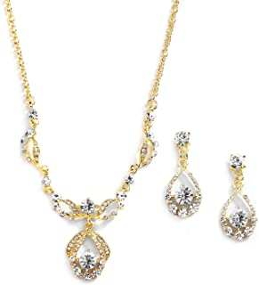 14K Gold Plated Vintage Crystal Necklace & Earrings Jewelry Set for Prom, Bridal and Bridesmaids