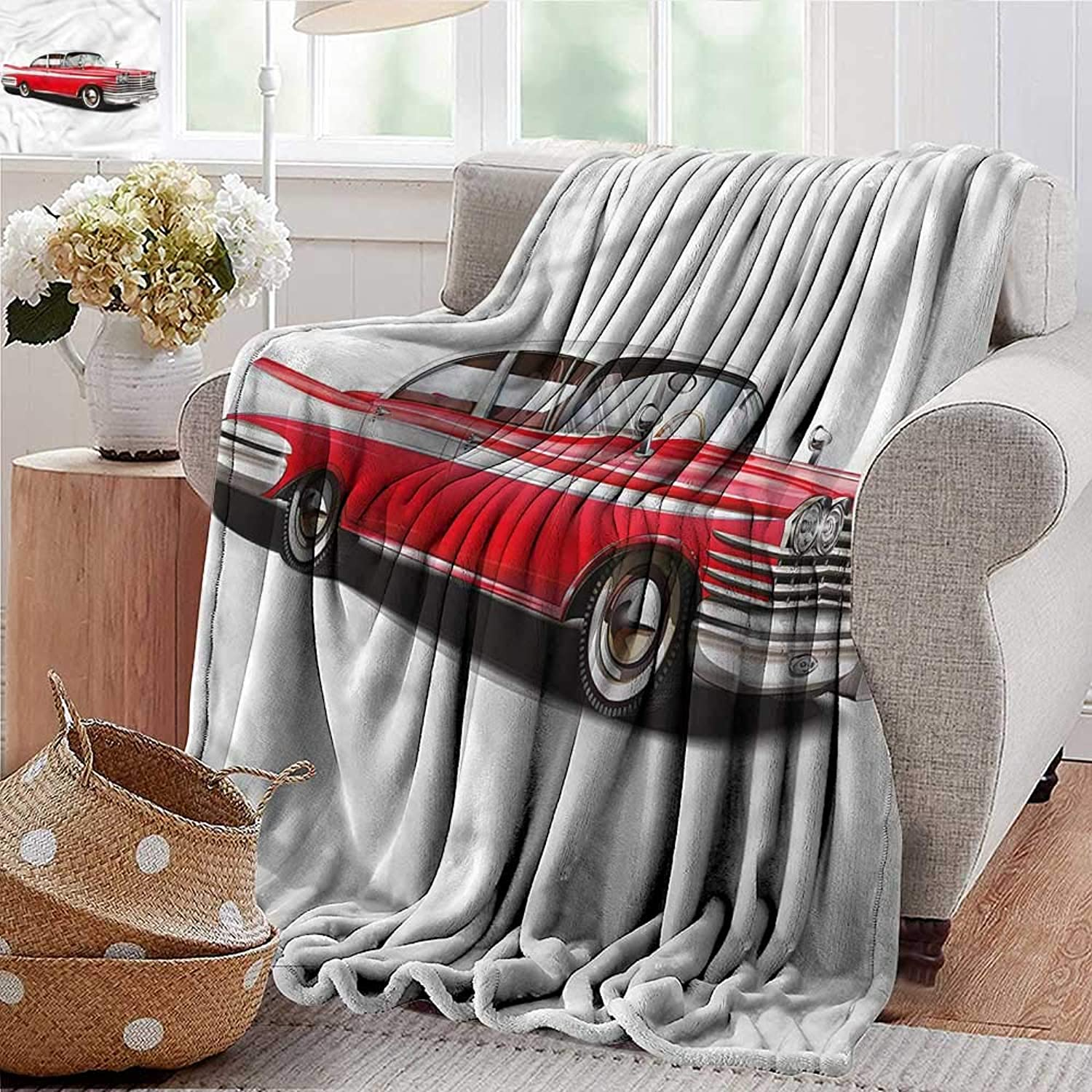 Wearable Blanket Boys Room,Vintage Engine Retro Car Microfiber All Season Blanket for Bed or Couch Multicolor 35 x60