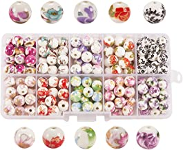 PH PandaHall 1 Box (About 200pcs) 10 Styles Traditional Chinese Handmade Porcelain Flower Round Beads 8mm Exquisite Decal Spacer Beads