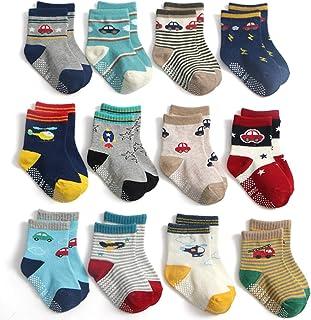 Yafane 12 pares de calcetines antideslizantes de algodón para bebés y niños recién nacidos