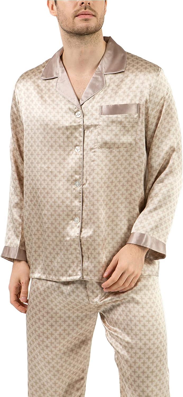 100% Pure Silk Pyjamas for Men Printing Button-Down Pajamas Set Loungewear Lapel Long Sleeved PJ Set Nightwear Sleepwear for Summer with Chest Pocket,002,2XL