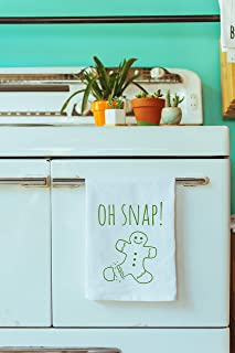 Funny Holiday Kitchen Towel, Oh Snap!, Gingerbread Man, Flour Sack Dish Towel, Sweet Housewarming Gift, Xmas Gift, White