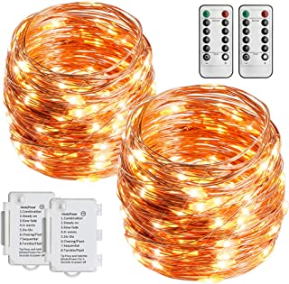 STARKER 2 Pack Battery Operated String Lights 36ft 100 LEDs Outdoor Fairy Lights 8 Mode Waterproof Copper Wire Twinkle Lights for Bedroom, Yard, Party, Wedding (Remote and Timer)