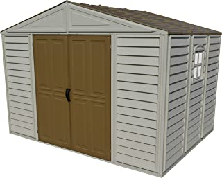 Woodbridge 10.5 ft. x 8ft. Vinyl Resin Outdoor Storage Shed Adobe with Brown Roof