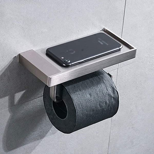 TEDAMIR 黄铜壁挂式厕纸架带手机置物架厕纸卷浴室配件纸巾纸厕所整理架