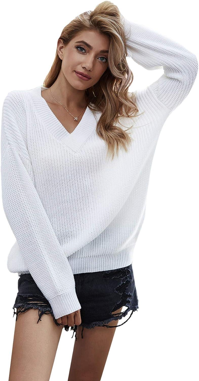 MakeMeChic Women's Loose New product!! V Neck Sleeve Pullov Long Shoulder Drop favorite