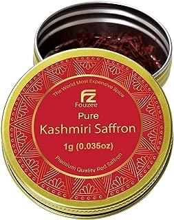 Fouzee Pure Kashmiri Saffron Threads 0.035oz 1g – Finest 100% All-Red Saffron Spice For Cooking, Paella Rice, Golden Milk, Persian Rice, Tea
