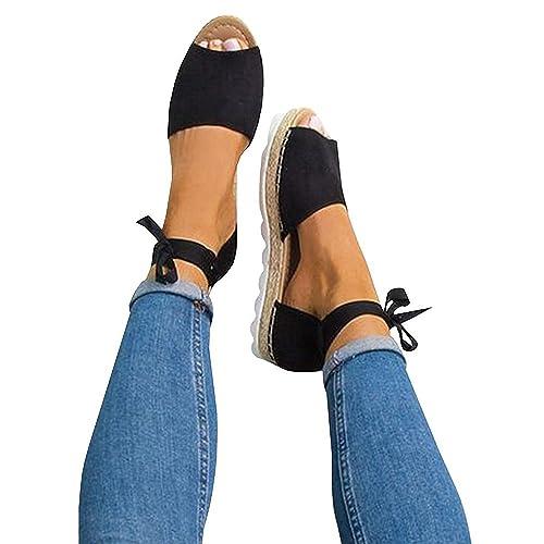 Fashare Womens Espadrilles Tie Up Flat Sandals Peep Toe Classic Cutout DOrsay Dress Shoes
