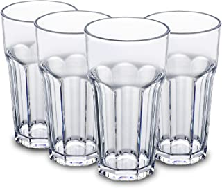 410ml Clear Plastic Cups Tumblers Highball Drinking Glasses Tall Kids Water Beakers Reusable Glassware Picnic Drinkware