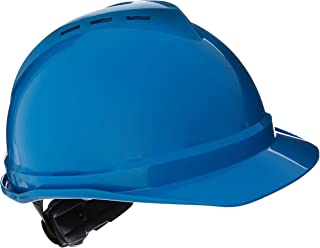 MSA (Mine Safety Appliances) 10034028 V-Gard Advance Class C Type I Polyethylene Vented Hard Cap with Fast-Track 6-Point Suspension and Glare Gard Underbrim, Blue