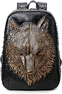 GYNSSJBB Fashionable 3D Animal Head School Bag, Bright Rivet Embossed Waterproof Computer Bag, Large Capacity Double-Layer Backpack for Men and Women, Which Can Hold 14-inch Computer (Color : Gold)