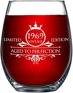 1969 50th Birthday Gifts for Women and Men Wine Glass - Funny Vintage Aged To Perfection - Anniversary Gift Ideas for Mom Dad Husband Wife – 50 Year Old Party Supplies Decorations for Him, Her - 15oz