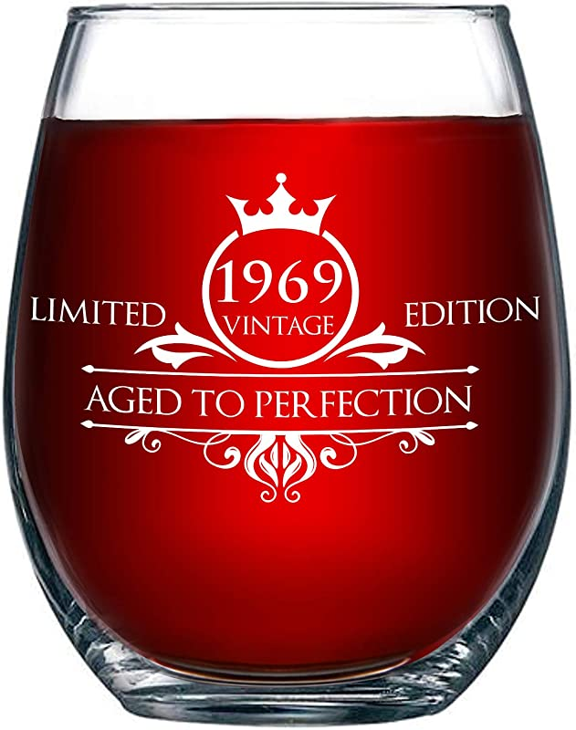 1969 50th Birthday Gifts For Women And Men Wine Glass Funny Vintage Aged To Perfection Anniversary Gift Ideas For Mom Dad Husband Wife 50 Year Old Party Supplies Decorations For Him Her 15oz